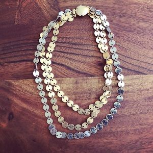 Vintage gold & silver layered strand coin necklace